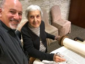 Deanna Rosenthal and Rabbi Paul at Torah
