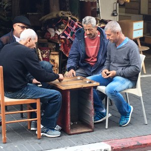 Men Playing Backgammon in Jaffa
