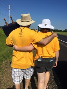 Rabbi Paul Kipnes and daughter Rachel share a private moment on the Journey for Justice