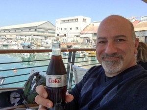 Me with a diet coke at Jaffa Port