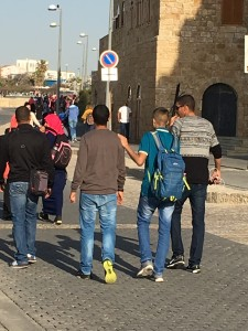 Arab boys meandering in Jaffa